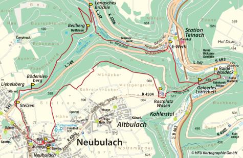 """Wanderkarte der Wanderung """"Über den Beilfelsen zur Ruine Waldeck"""""""